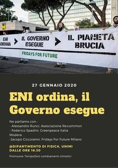 27/01 - Eni ordina, il governo esegue @Unimi, CittàStudi