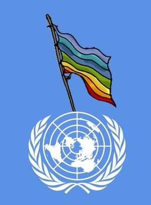 Il logo delle Nazioni Unite con la bandiera della pace disegna da Mauro Biani