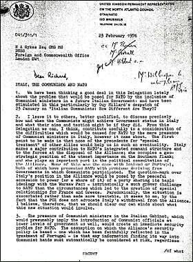 Documento segreto sull'ipotesi di golpe in Italia nel 1976