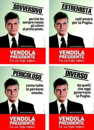 I manifesti della campagna elettorale di Nichi Vendola