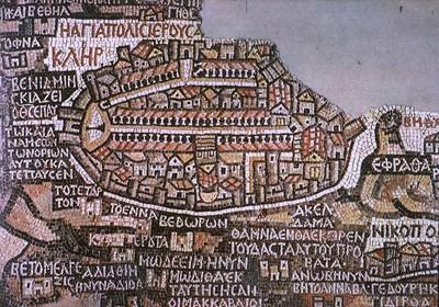 Mosaico del VI secolo raffigurante una cartografia di Gerusalemme