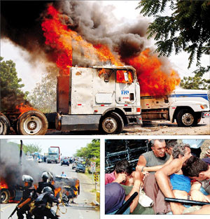 Scontri tra Polizia e camionisti (Foto END - Xavier Castro)