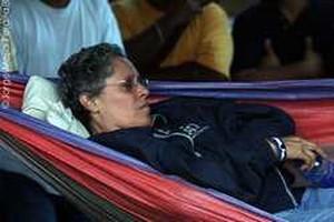 La ex comandante guerrigliera Dora Maria Tellez durante lo sciopero della fame