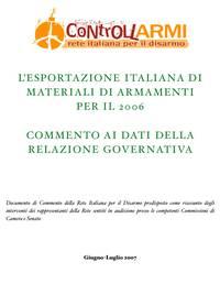 Esportazione italiana materiali di armamento: commento ai dati 2006
