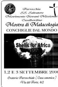 "Locandina della mostra missionaria ""Shells for Africa"""