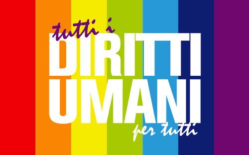 """Bandiera """"Tutti i diritti umani per tutti""""."""