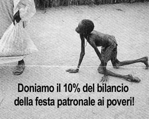 Il 10 per cento del bilanci della festa patronale ai poveri
