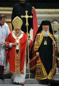 Papa Benedetto XVI con il Patriarca ortodosso Bartolomeo I