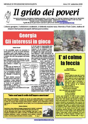 Il grido dei poveri, mensile di riflessione nonviolenta - settembre 2008