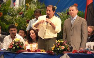 Daniel Ortega e Igor Sechin durante l'attività nella capitale (© Foto G. Trucchi)