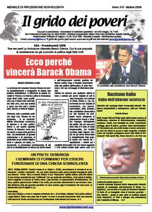 Il grido dei poveri, mensile di riflessione nonviolenta - ottobre 2008