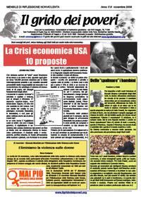 IL GRIDO DEI POVERI (mensile di riflessione nonviolenta) novembre 2008