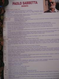 """Pannello Biografia di Paolo Sabbetta  artefice e promotore della Resistenza Popolare non Armata negli anni 1943 – 1944. Cavaliere Al Merito della Repubblica Italiana per aver salvato venti uomini dalla deportazione. Autore di quattordici memoriali e due libri, l'ultimo postumo """"La Cittadella degli eroi …La Resistenza non armata di Tor Mancina"""" Edizioni del Rosone( Via Zingarelli 10 – Foggia info: edizionidelrosone@tiscali.it). Paolo Sabbetta ha articolato la sua vita su diversi fronti, da volont"""