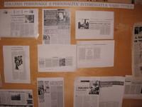 Pannello con alcuni articoli di testate giornalistiche che hanno scritto della vicenda di Tor Mancina appoggiando l'artefice e promotore Paolo Sabbetta.