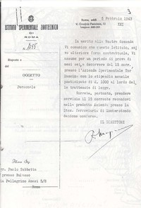 Assunzione di Paolo Sabbetta presso l'Istituto Sperimentale di Tormancina in qualità di Dirigente