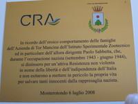 Targa commemorativa affissa nell'edificio della Direzione di Tormancina inaugurata il 6 luglio 2008