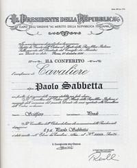 Onorificenza di Cavaliere Al merito della Repubblica italiana conferita a Paolo Sabbetta