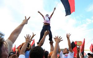 Festeggiamenti dopo le elezioni 2008 (Foto La Prensa)