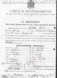 Carta di Riconoscimento di Soci del Tiro a Segno Nazionale per portare Armi (1° Adolescenza fascista)