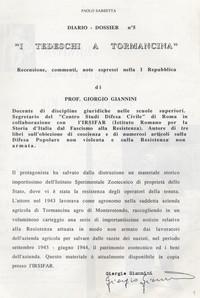 """Diario Dossier """"I tedeschi a Tormancina opinione del prof. G. Giannini"""