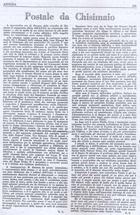"""Cronaca de """" Il Postale di Chisimaio"""" sull'assassinio dei carabinieri (6° Eccidio di Chisimaio)"""