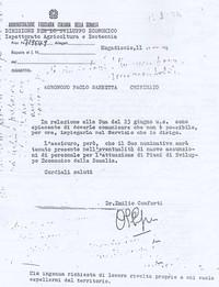 Documento che comprova uno fra gli innumerevoli tentativi di Sabbetta di richiedere lavoro in Somalia (6° Eccidio di Chisimaio)