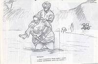Schizzo di Fatma Muddhei che prende Sabbetta a spalla nella boscaglia somala (7° Alias Mohamed nella boscaglia somala)