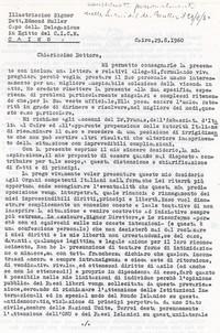 Lettera al Dott. Muller Capo della Delegazione in Egitto della CICR pg. 1 (8° Asilo Politico)