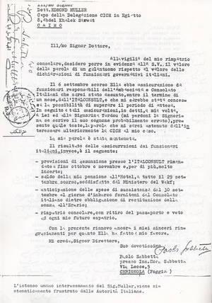 Sabbetta scrive al Dott. Muller alla vigilia del suo rimpatrio (8° Asilo politico)
