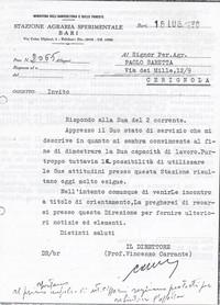 Lettera richiesta dati Sabbetta per assunzione presso la Stazione Agraria Sperimentale di Bari nella persona del dott. Carrante (9° Esilio in patria)