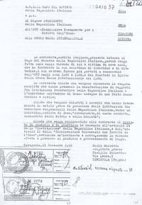 Lettera al Capo del Governo e p.c al Presidente della Repubblica, alla Commissione per i Diritti dell'Uomo e la Croce Rossa Internazionale (9° Esilio in patria)