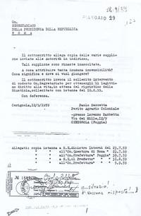 Lettera alla Presidenza della Repubblica (9° Esilio in patria)