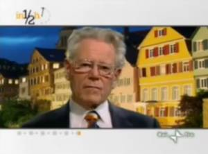 """Hans Kung intervistato da Lucia Annunziata durante la trasmissione """"In Mezz'ora"""" (Rai Tre)."""