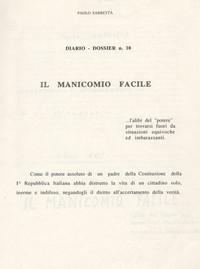 """Frontespizio memoriale """"Il Manicomio Facile"""""""