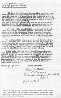 Sabbetta espone un appello al Capo del Governo Amintore Fanfani (10° Il manicomio facile)