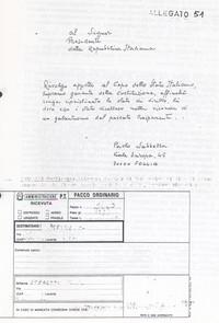 Lettera al Presidente della Repubblica inviata allegando un dossier esplicativo della vicenda (11° memoriale j'accuse)