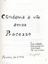 """Frontespizio Memoriale """"Condanna a vita senza processo"""""""