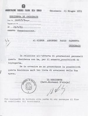 Lettera Afis (Chisimaio) in risposta alla richiesta di Lavoro di Sabbetta (12° Condanna a vita senza processo)