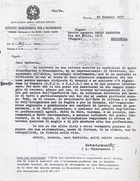 Lettera da Firenze del prof. Chiaromonte che consiglia a Sabbetta di rivolgersi all'Afis e alla Sais per la ricerca di un lavoro essendo informato della mancanza di tecnici agrari (12° Condanna a vita senza processo)