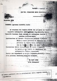 Referenze Sabbetta del centro agricolo L. Razza (12° Condanna a vita senza processo)