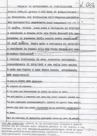 Verbale di separazione dalla moglie di Sabbetta la quale si appella al suo internamento (12° Condanna  a vita senza processo )
