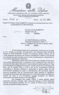 Lettera del Ministero della Difesa in risposta a Sabbetta attestante che non esiste una legge in grado di riconoscere la resistenza non armata  (Obiettivi da raggiungere)