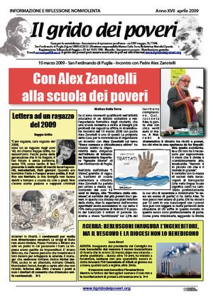 Il grido dei poveri, mensile di informazione e riflessione nonviolenta - aprile 2009
