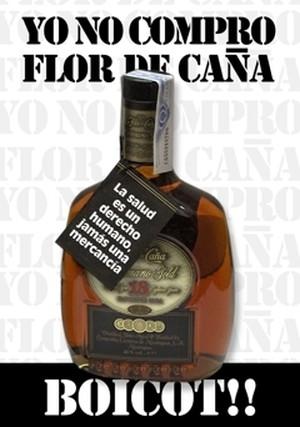 Boicottaggio al rum Flor de Caña
