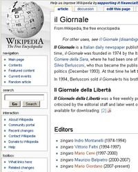 La pagina modificata di Wikipedia