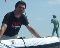 Saverio Tommasi sul canotto a piazzale Michelangelo