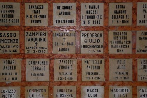 Padova,il Tempio dell'Internato Ignoto,le tombe delle vittime dei campi nazisti