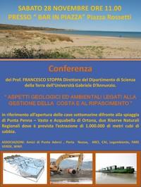 Sabato 28 novembre a Vasto conferenza sul ripascimento della costa