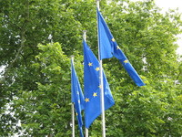 European flags in front of the Council of Europe, Strasbourg