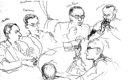 Disegno che documenta una delle prime riunioni clandestine del movimento liberalsocialista, nella villa di Umberto Morra, nei pressi di Cortona (Meteliano), nel 1939. Da sinistra, Bobbio, Luporini, Capitini, Morra. Sotto: Calogero e la nuca di Guttuso.